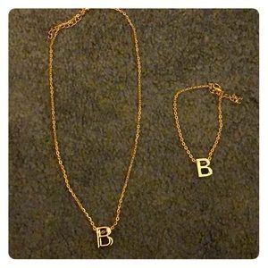 """Jewelry - Initial """"B"""" necklace & bracelet set"""